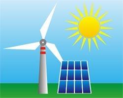 Diagram of wind generator and solar panel depicting alternative energy
