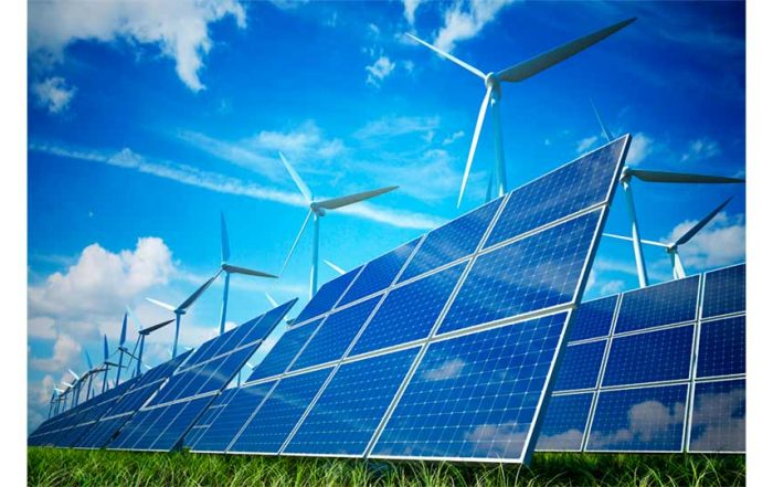 Renewable Energy showing wind turbines and solar panels