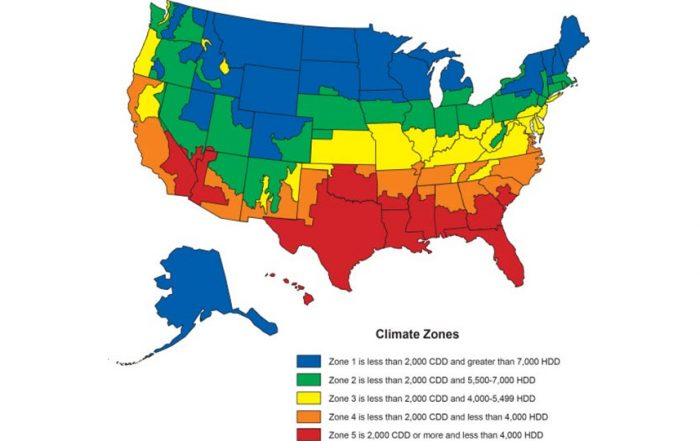 Map of U.S. showing climate zones